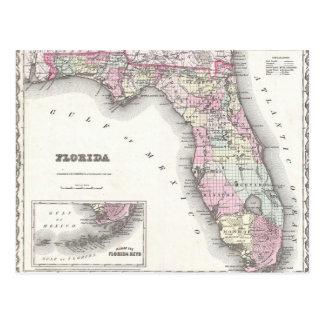 1855 Colton Map of Florida Postcard