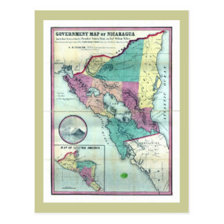 1856 Government Map of Nicaragua by A.H. Jocelyn Postcard