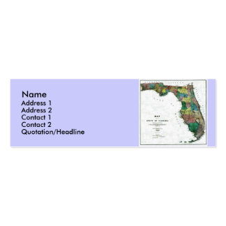 1856 Map of the State of Florida by Columbus Drew Business Card Templates