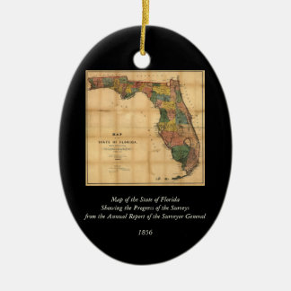 1856 Map of the State of Florida by Columbus Drew Ceramic Oval Ornament