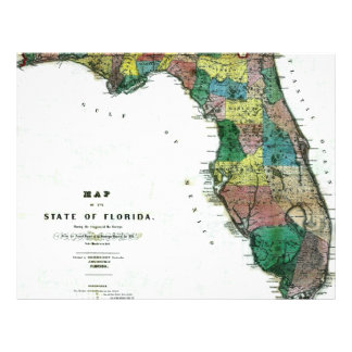 1856 Map of the State of Florida by Columbus Drew Custom Flyer