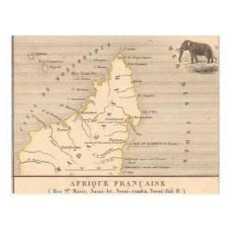 1858 Map Afrique Francaise: Iles Ste Marie, France Postcard