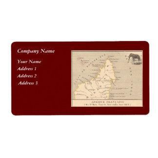 1858 Map Afrique Francaise: Iles Ste Marie, France Shipping Label