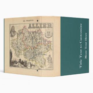 1858 Map of Allier Department, France Vinyl Binders