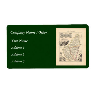 1858 Map of Ardeche Department, France Shipping Label