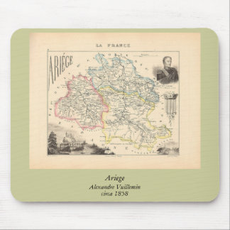 1858 Map of Ariege Department, France Mouse Pad