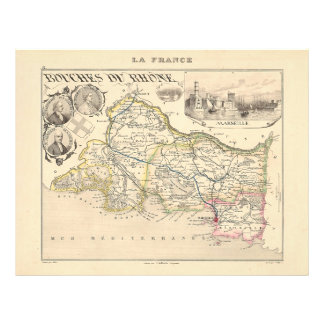 1858 Map of Bouches du Rhone Department, France Flyer