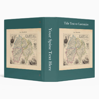 1858 Map of Cantal Department, France 3 Ring Binder