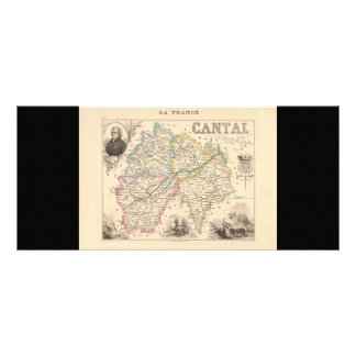 1858 Map of Cantal Department, France Rack Cards