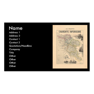1858 Map of Charente Inferieure Department, France Business Card Template