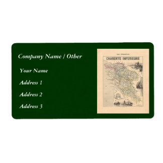 1858 Map of Charente Inferieure Department, France Shipping Label