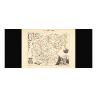 1858 Map of Correze Department, France Rack Card Design