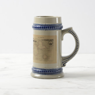 1858 Map of Guadeloupe Department, France Beer Stein