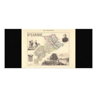 1858 Map of Haute Garonne Department, France Rack Card Template