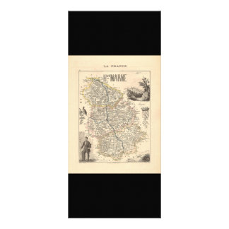 1858 Map of Haute Marne Department, France Rack Card Design