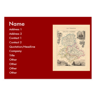 1858 Map of Haute Vienne Department, France Large Business Card