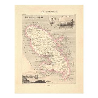 1858 Map of Martinique Department, France Flyer Design