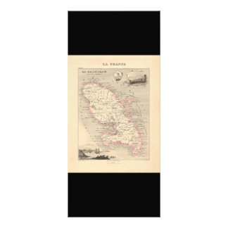 1858 Map of Martinique Department, France Rack Cards