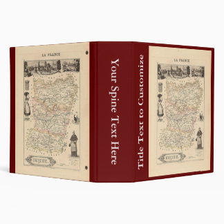 1858 Map of Mayenne Department, France 3 Ring Binder