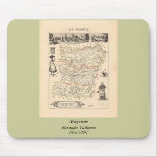1858 Map of Mayenne Department, France Mouse Pad
