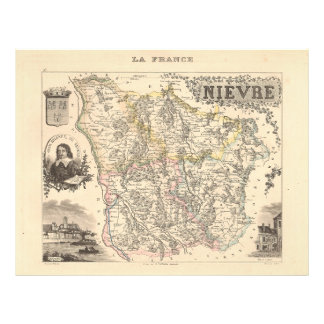 1858 Map of Nievre Department, France Flyer Design