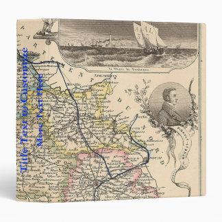 1858 Map of Pas de Calais Department, France 3 Ring Binder