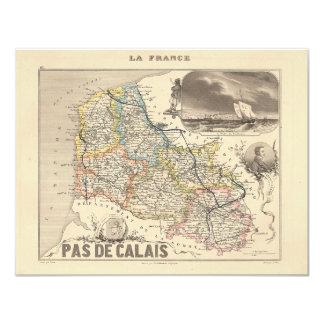 1858 Map of Pas de Calais Department, France Card