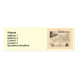 1858 Map of Pyrenees Orientales Department, France Mini Business Card