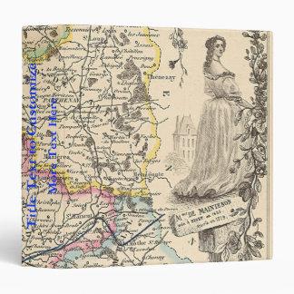 1858 Map of Sevres Department, France Vinyl Binder
