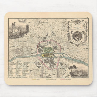 1858 Map Paris en 1180 - France Mouse Pad
