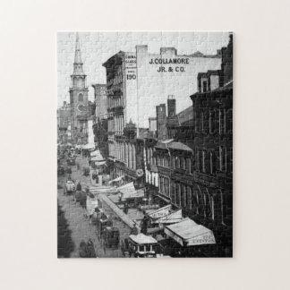 1859:  Traffic and shops on Washington Street Jigsaw Puzzle