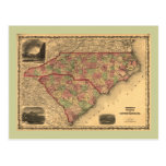 1861 North Carolina and South Carolina Map Postcards