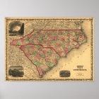 1861 North Carolina and South Carolina Map Poster