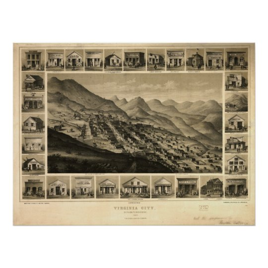 1861 Virginia City NV Birds Eye View Panoramic Map Poster