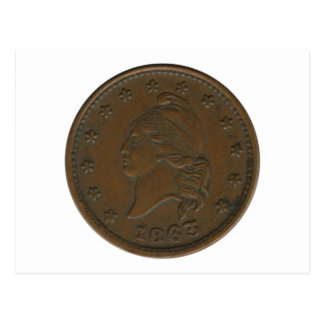 1863 Civil War Token Postcard