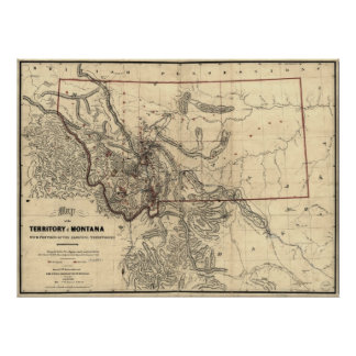 1865 map of Montana Territory Poster