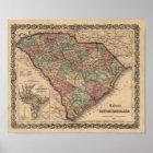 1865 South Carolina Map Poster