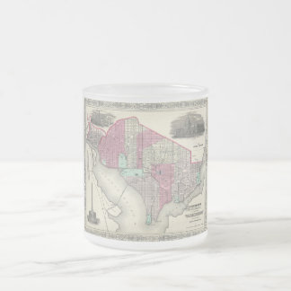 1866 Johnson Map of Washington D.C. Frosted Glass Coffee Mug