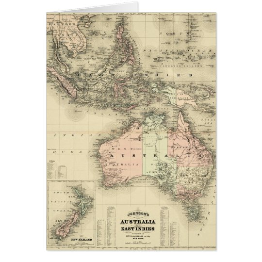 1867 Australia and East Indies Vintage Map Card