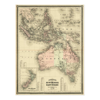 1867 Australia and East Indies Vintage Map Postcard