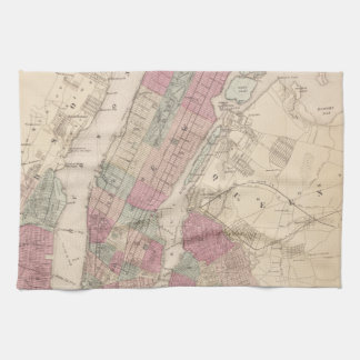1868 Map of New York and Brooklyn Kitchen Towel