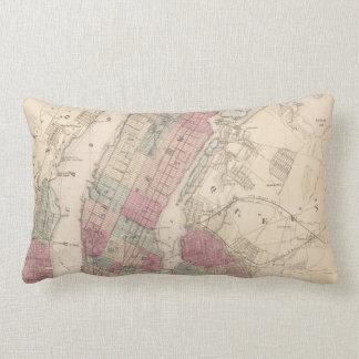 1868 Map of New York and Brooklyn Lumbar Pillow