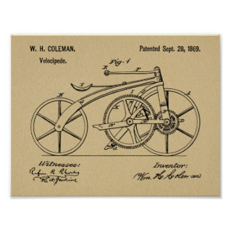 1869 Chainless Bicycle Patent Art Drawing Print