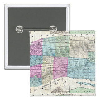 1870 Map New York City Central Park 2 Inch Square Button