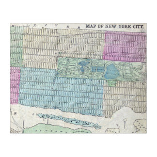 1870 Map New York City Central Park Acrylic Wall Art