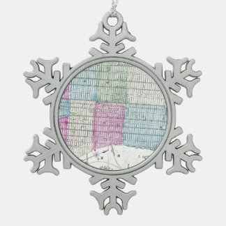 1870 Map New York City Central Park Pewter Snowflake Ornament