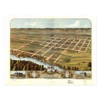 1870 New Ulm, MN Birds Eye View Postcard
