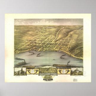 1870 Stillwater, MN Birds Eye View Panoramic Map Poster
