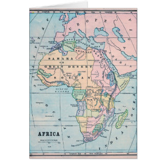 1870 Vintage Map of Africa Card