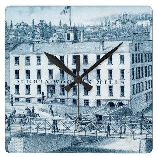 1871 Aurora Illinois Woolen Mills Square Wall Clock